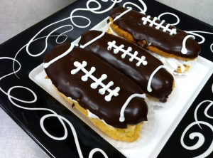 Football eclairs for the Super Bowl!