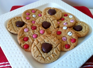 Peanut Butter Cookies with Dove Heart Chocolates and Valentine's Day M&M's