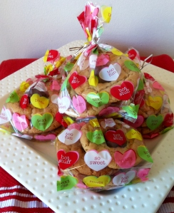 Packaged in cutesy Valentine's Day cello bags. You could get 20 for a buck at Target!