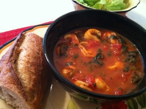 Cheese Tortellini & Spinach Soup