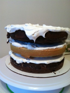 Cakes stacked - this is a TALL cake!