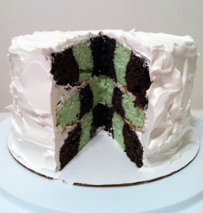 Cool Whip Iced Grasshopper Checkerboard Cake
