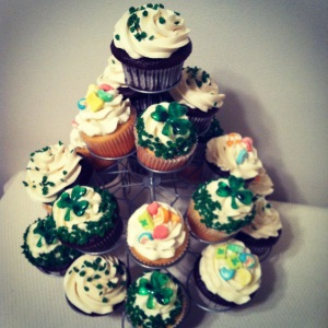 St. Pat's Cupcakes from scratch! Milk chocolate cupcakes with Bailey's buttercream frosting, milk chocolate cupcakes with vanilla buttercream frosting, vanilla sugar cookie cupcakes with vanilla buttercream frosting. Lucky Charms & Shamrock sprinkles for garnish!